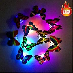 JHKUNO Colorful Changing Butterfly LED Night Light Lamp Home