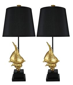 Urbanest Set of 2 Conch Table Lamps, Gold