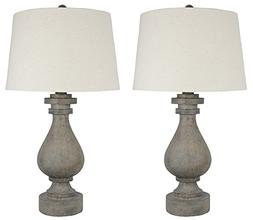 Urbanest Set of 2 Cote Table Lamps, Concrete Finish with Nat