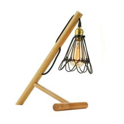 Country Style Desk Lighting Wooden Industrial LED Table Lamp
