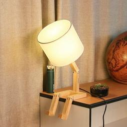HAITRAL Creative Desk Lamp - Cute Table Lamps with Wooden Ba