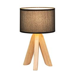 HAITRAL Creative Table Lamp with Triangle Wooden Support Bla