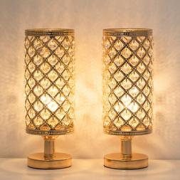 Set of 2 Gold Crystal Table Lamp Vintage Nightstand with Cle