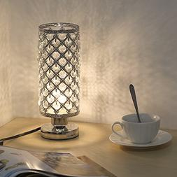 HAITRAL Crystal Table lamp - Small Bedside Table Lamp with C