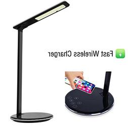 LED Desk Lamp with 10W Qi Fast Wireless Charger, Dimmable Ad