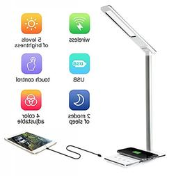 LED Desk Lamp with Qi Wireless Charger Pad for Qi-Enabled De