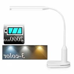 Rechargeable LED Desk Lamp Clip on Light with Battery , 3 Co