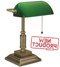 Desk Lamp Light W/ Green Glass Shade Electric Antique Brass