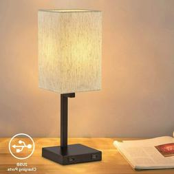 Desk/Table Lamp with 2 USB Charging Ports ,Linen Fabric Shad