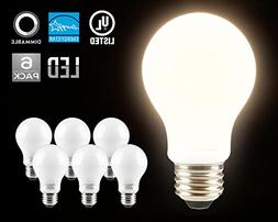 LED Dimmable A19 Frosted Glass Filament Light Bulb, 9W  Deco