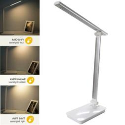 Dimmable LED Desk Lamp With USB Charging Port Table Lights F