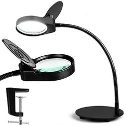 TOMSOO Dimmable Magnifying Glass Desk Lamp - 2 in 1 Bright L