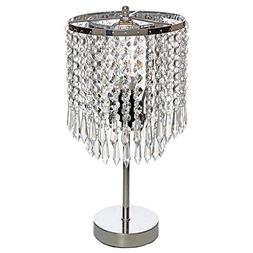 GLANZHAUS Elegant Raindrop Silver Crystal Table Lamp, 16.9""