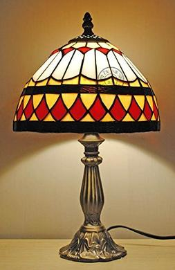 8-Inch Elegant Red Stained Glass Tiffany Table Lamps Lightin