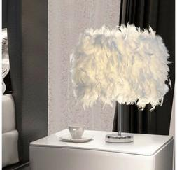 Elegant White Feather Table Lamp Shades Lampshade Bedside De