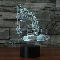 Excavator Shape 3D Lamp Optical Illusions Night Light 7 Colo