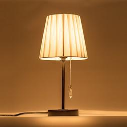 Lanros Fabric Shade Table Lamp with Crystal Pull Chain Switc