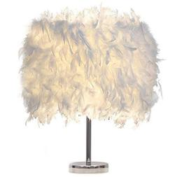 Feather Shade Metal Table <font><b>Lamp</b></font> Bedside <