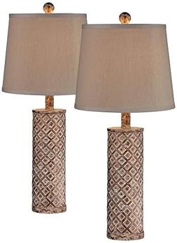 Gisele Gold Wash Lattice Column Table Lamp Set of 2