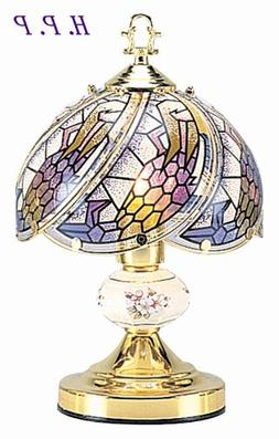 NEW Glass Dark glass floral Scene Touch Lamp 14.3'' H Gold F