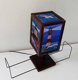 TIFFARTY Small Glass Style Lighthouse Table Lamp with Book S