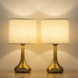 HAITRAL Set of 2 Gold Table Lamps - 13.38 Inches Small Desk