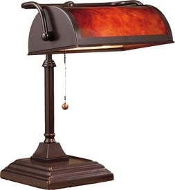 "NormandeLighting 12"" H Bankers Table Lamp with Rectangular S"