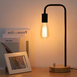 HAITRAL Desk Lamp Wooden Industrial Table Lamp for Office, B