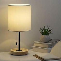 HAITRAL Wooden Table Lamp - Nightstand Desk Lamp with White