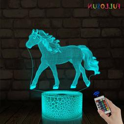 Horse 3D Desk Lamp LED Night Light 16 Color with Remote Cont