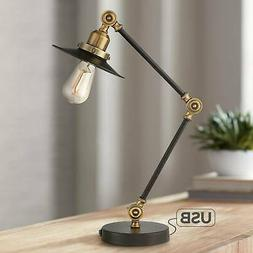 Industrial Rustic Desk Table Lamp with USB Port Adjustable B