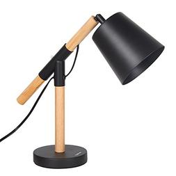 HAITRAL Industrial Table Lamp - Wooden Desk Lamp with Black