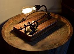 Industrial Wood Table Lamp - Real Wood and Machinery Part Cr