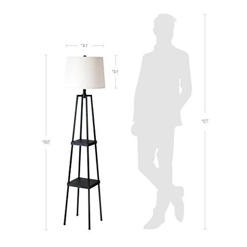 Catalina Lighting Distressed Iron Floor Shelves, Ivory Linen Shade New Black