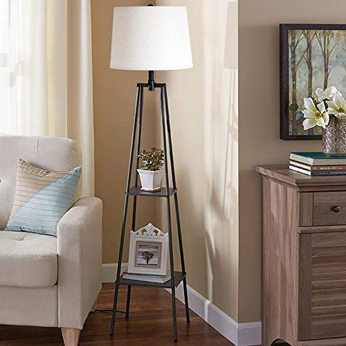 Catalina Lighting 21405-000 Distressed Iron Etagere Floor Lamp Ivory Beige Linen and Switch, New Black