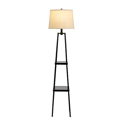 "Catalina Distressed Etagere Floor Lamp Ivory Linen and 58"", New Black"