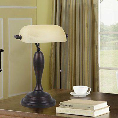 """Catalina Lighting 21469-000 Traditional Banker's Lamp with LED 17.75"""""""