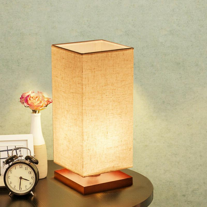 Minimalist Bedside Lamp Fabric Shade Wood Light for Living US