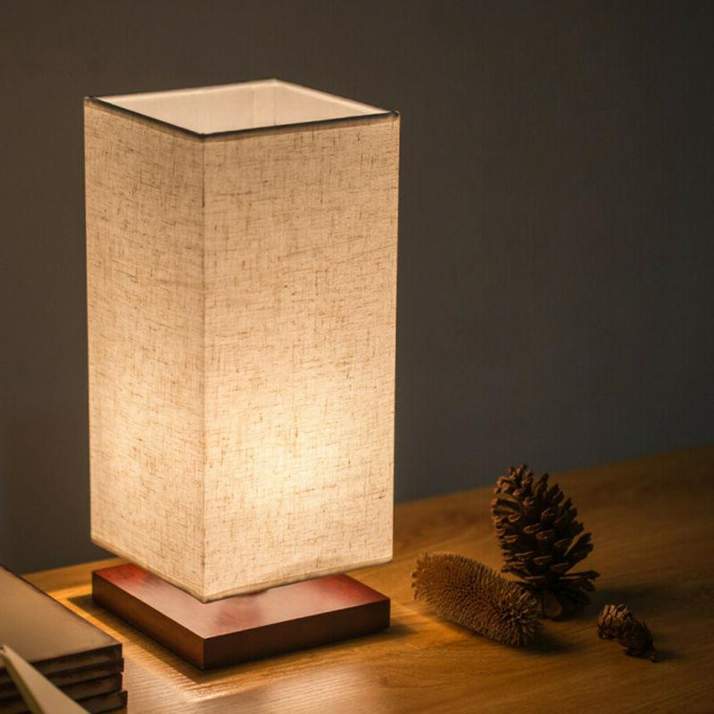 Minimalist Bedside Lamp Fabric Shade Wood Desk US