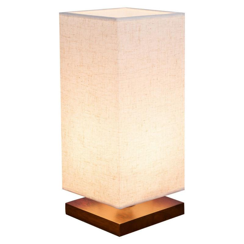 minimalist bedside table lamp fabric shade wood