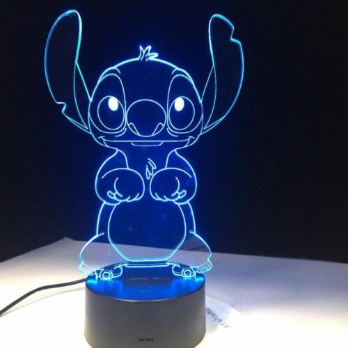 3D Night Light 7 Change LED Touch Room Decor