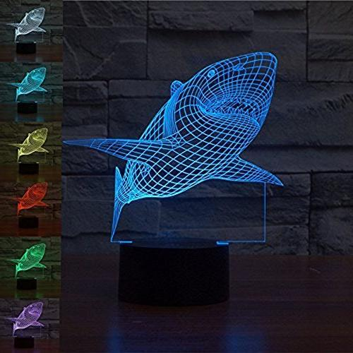 WOlight 3D Shark iLLusion Light 7 Colors Changing Table Desk