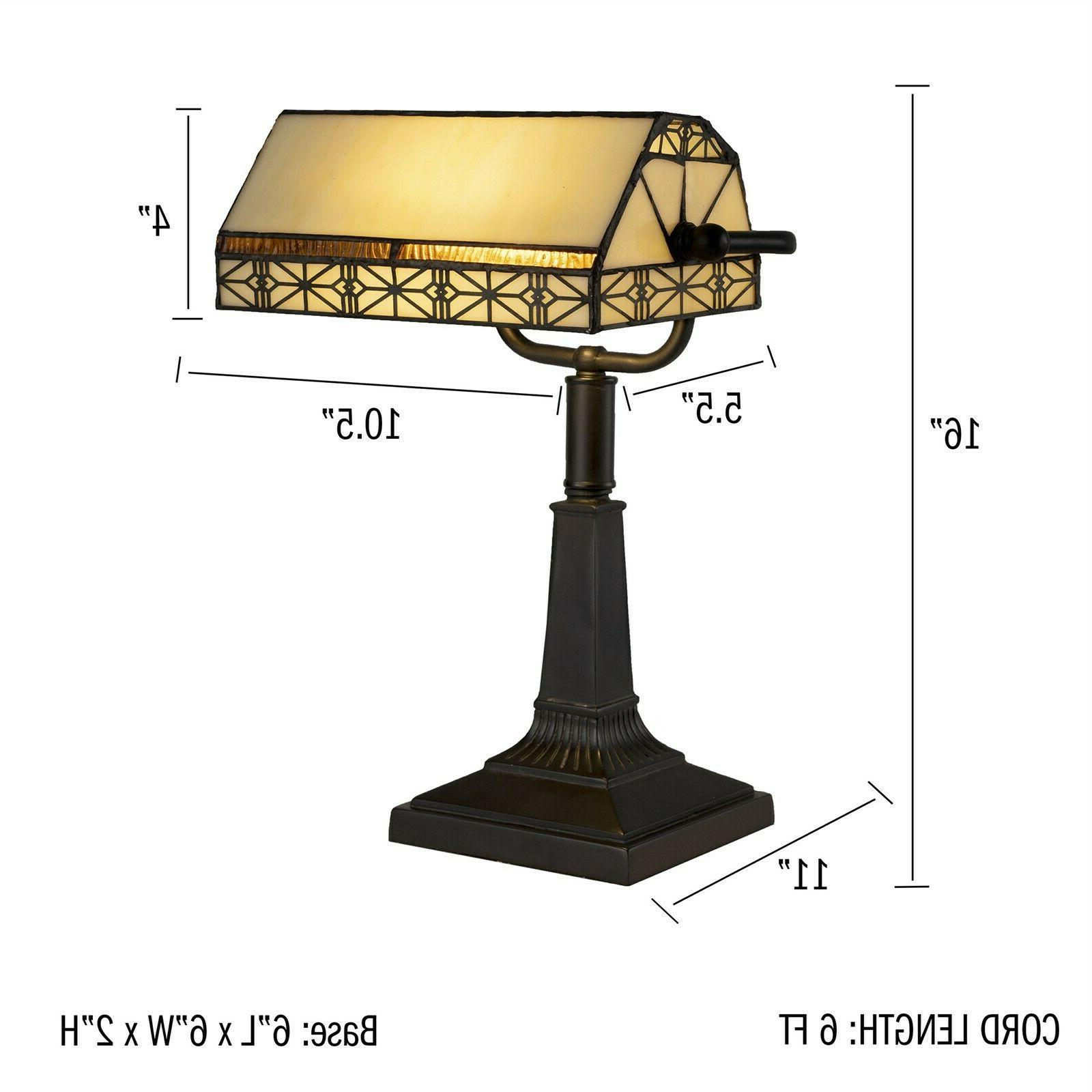 Bankers Tiffany Desk Lamp Stained Vintage Style