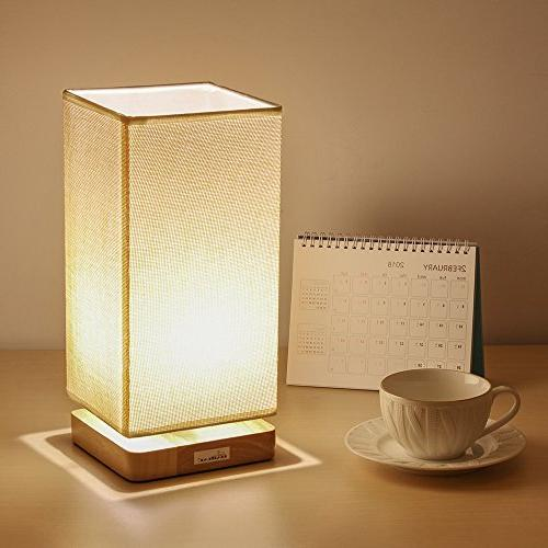 HAITRAL Bedside Lamp, Table Lamps Retro and Fabric