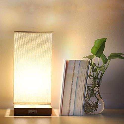 HAITRAL Bedside Lamp, Lamps Bedroom Retro and Fabric Lamp