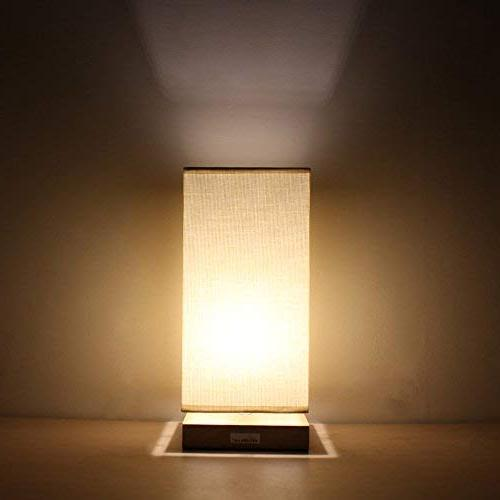 HAITRAL Lamps for Bedroom with Retro Solid Wood and Fabric Lamp