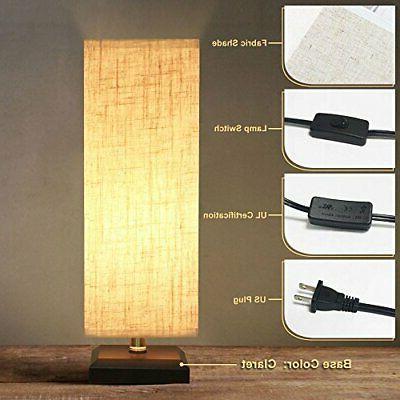 Bedside Lamp Style Wood Shade Nightstand Lamp