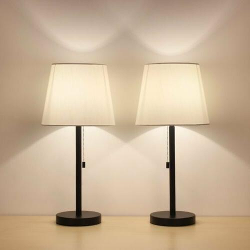 HAITRAL Table Lamp Set of 2 Modern Desk Lamp Nightstand Lamp
