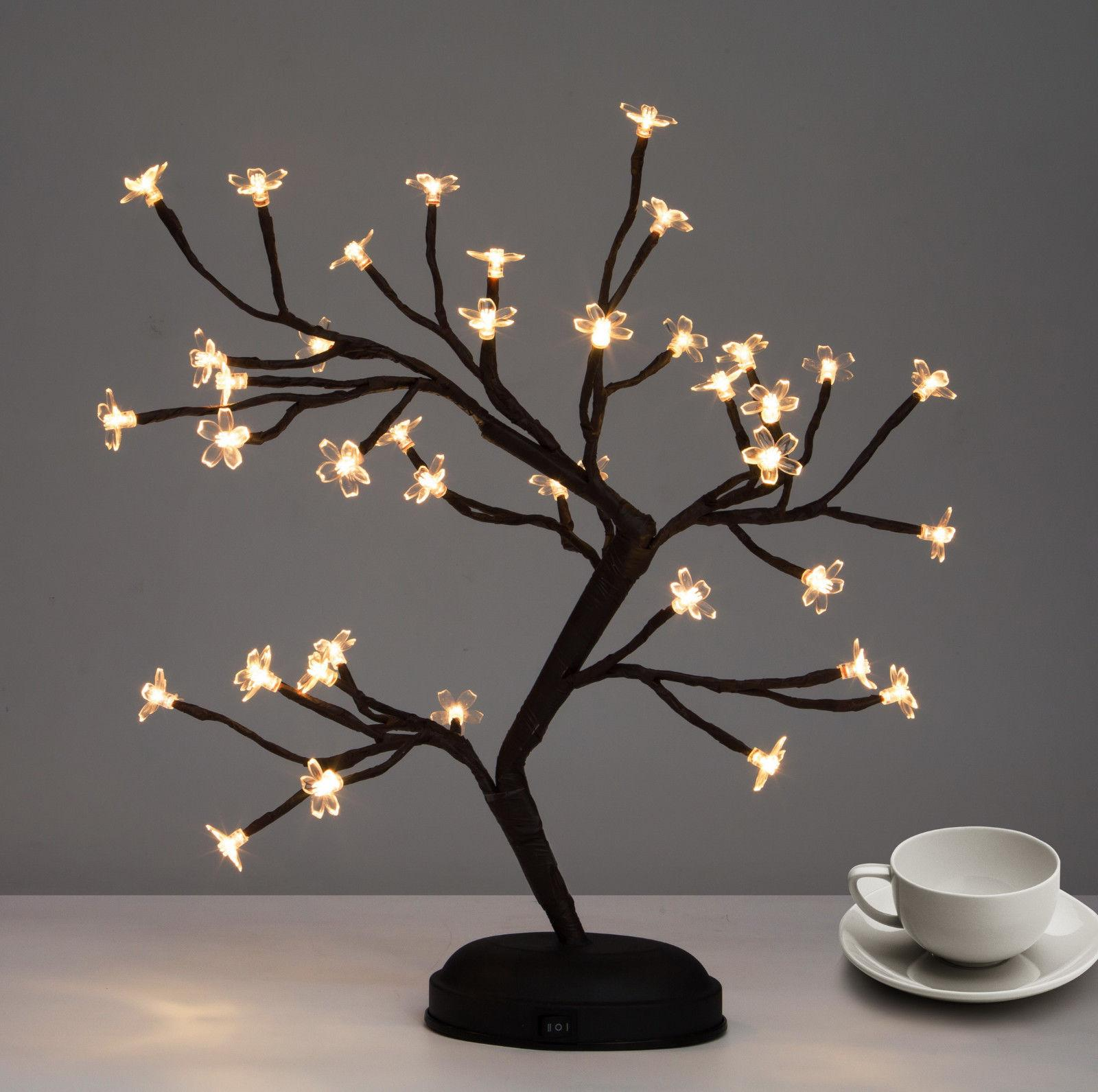 LED Cherry Blossom Desk Bonsai Table Lamp Tree Light  Fairy