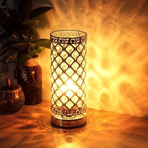 Crystal Table Lamp Touch Control Accent Lamp Bedside Light Shade Night Light Fixture for Room Kitchen, by